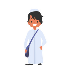 Muslim or islamic boy goes to school character vector