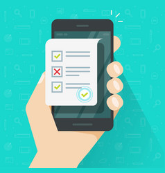 online form survey on smartphone vector image