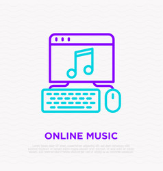 online music icon opened web site on computer vector image