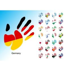 Open human handprint with national flag inside vector