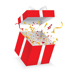 Opened 3d realistic gift box with bow and confetti vector