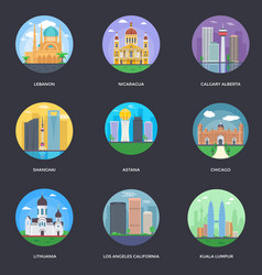 Pack world cities 14 vector