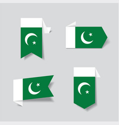 pakistani flag stickers and labels vector image