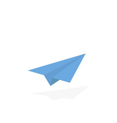 paper airplane origami style airplane with shadow vector image