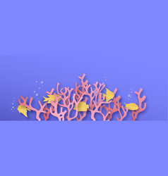 paper cut coral reef sea background with fish vector image