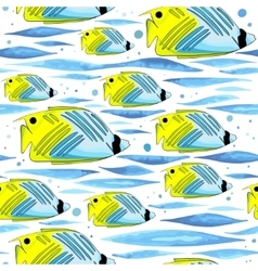 pattern with funny fishes waves and bubbles vector image