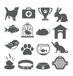 pet shop icons set on white background vector image