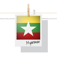 Photo of myanmar flag on white background vector