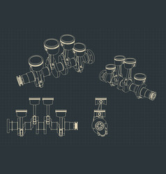 piston group with crankshaft blueprints vector image