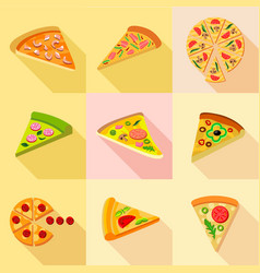Pizza from around the world icons set flat style vector