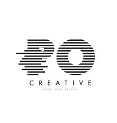 Po p o zebra letter logo design with black and vector