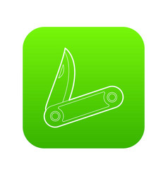 pocket knife icon green vector image