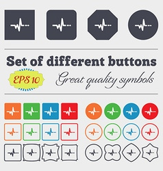 pulse icon sign Big set of colorful diverse vector image