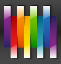 Rainbow paper stripe shiny banners with shadows on vector image