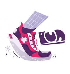 running poster cartoon flat vector image