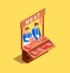 selling meat isometric composition vector image