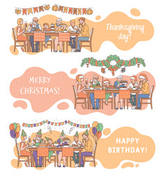 Set family joint holiday dinner scenes sketch vector