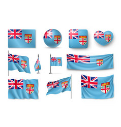 Set fiji realistic flags banners banners vector