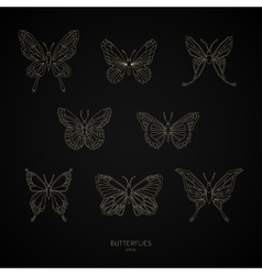 Set gold butterflies geometric shapes vector