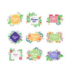 set of colorful floral frames with place for your vector image