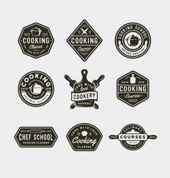 set of vintage cooking classes logos retro styled vector image