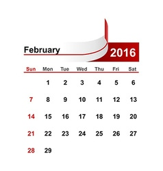 Simple calendar 2016 year february month vector