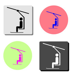 Ski lift with man flat icon vector
