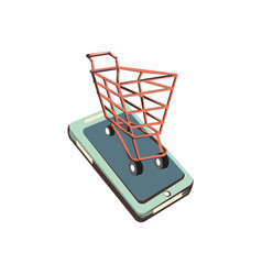 Smartphone with shopping cart vector