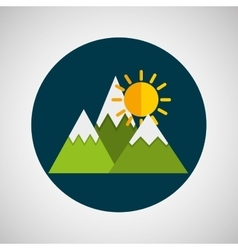 snowy mountains sunny weather concept design vector image