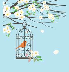 spring banner with bird in cage under green tree vector image