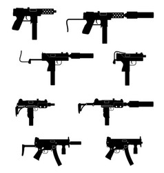 submachine machine hand gun weapons black outline vector image