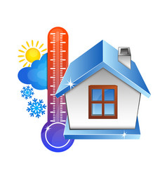 Temperature in the house and the weather vector