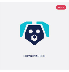 two color polygonal dog icon from geometry vector image