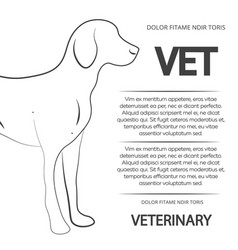 Veterinary poster design with line dog vector