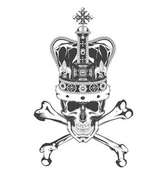 vintage monochrome skull with crossbones and crown vector image