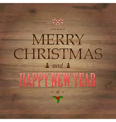 Wooden Background With Drawn Christmas Text vector