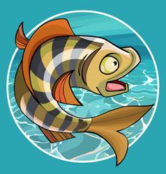 Cartoon funny fish perch in a circle vector
