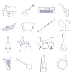 musical instruments outline icons set eps10 vector image