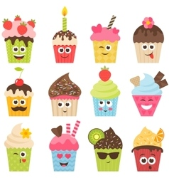 set of cupcake smileys vector image vector image