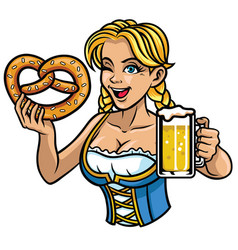 sexy oktoberfest girl with pretzel and beer vector image vector image