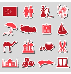 turkey country theme symbols stickers set eps10 vector image vector image
