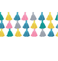 colorful decorative tassels rows horizontal vector image vector image