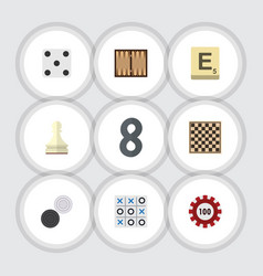 flat icon games set of chequer poker dice and vector image vector image