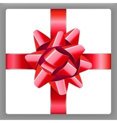 Red bow with ribbon holiday present vector image