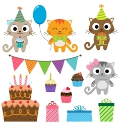 Birthday party elements with cats vector image vector image
