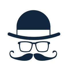 hat glasses mustache icon vector image