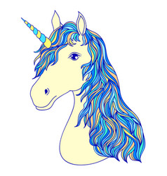 Head of hand drawn unicorn vector