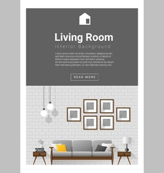 Interior design modern living room banner 1 vector