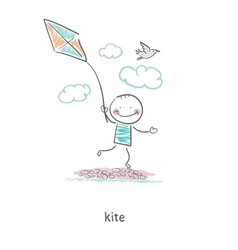 A man with a kite vector image vector image