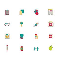 medicine icon set flat vector image
